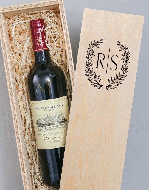 Laurel Printed Personalised Wine Crate