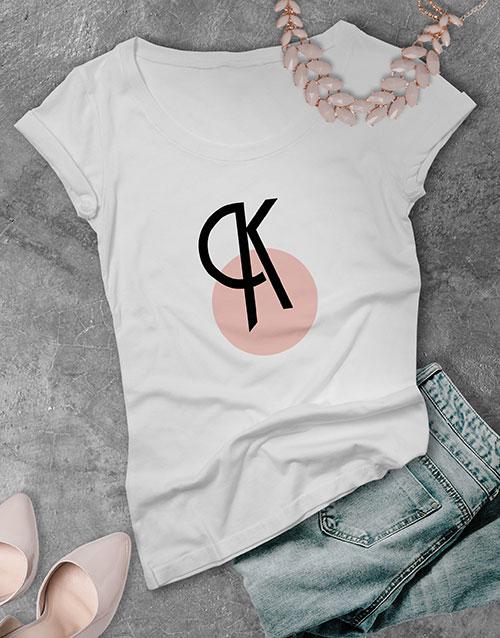 birthday Personalised Pink Circle Initial Ladies T Shirt