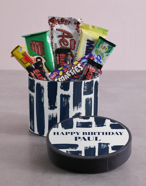 Personalised Blue Brush Strokes Birthday Hat Box