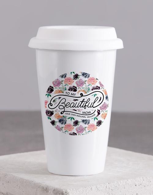 mothers-day Personalised Beautiful Mom Ceramic Travel Mug