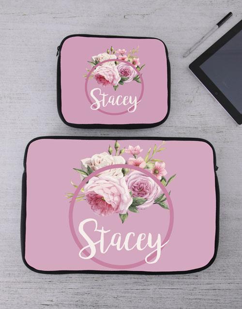 birthday Personalised Roses Tablet or Laptop Sleeve