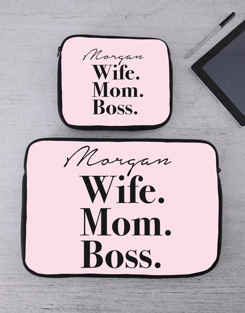 birthday Personalised Wife Mom Boss Tablet or Laptop Sleeve