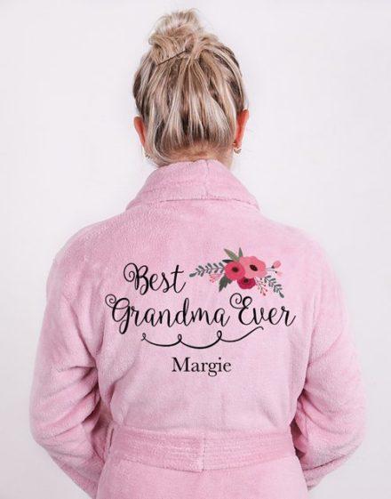 mothers-day Personalised Best Grandma Vintage Pink Fleece Gown