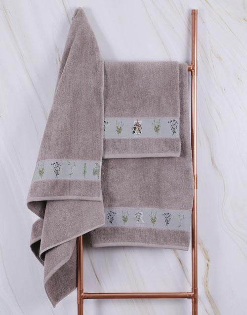 birthday Personalised Green Leaves Stone Towel Set