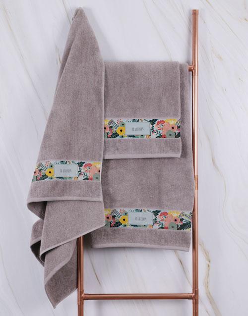 birthday Personalised Bright Floral Stone Towel Set