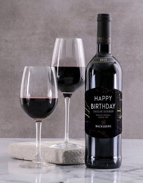 Black Marble Backsberg Personalised Wine