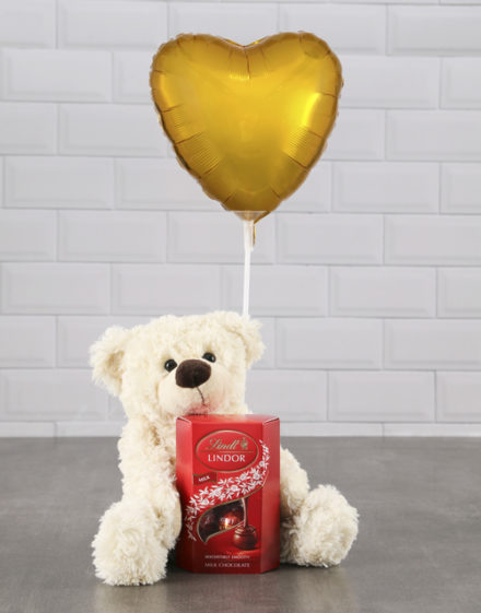 mothers-day Cream Teddy And Gold Balloon Hamper
