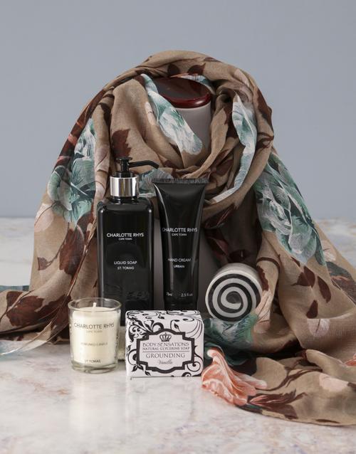 birthday Charlotte Rhys Pamper Box And Beige Floral Scarf
