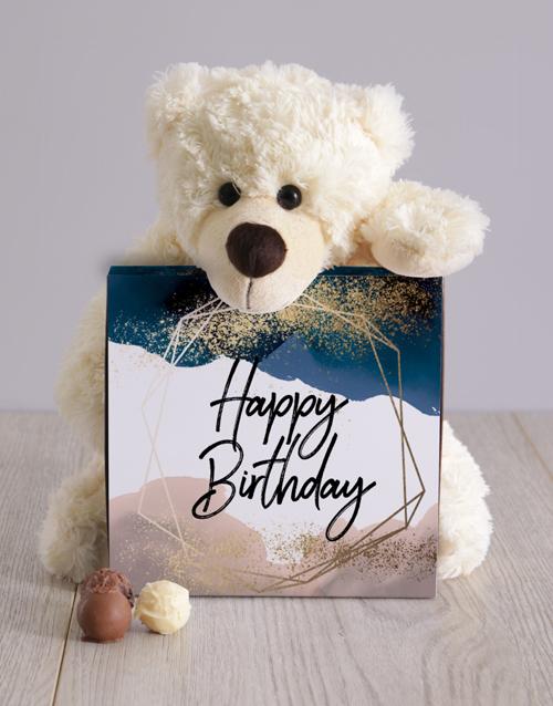 birthday Glitter And Watercolour Birthday Teddy Hamper