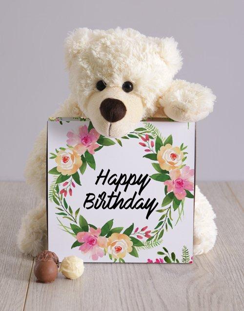 birthday Feminine Floral Birthday Teddy Hampers