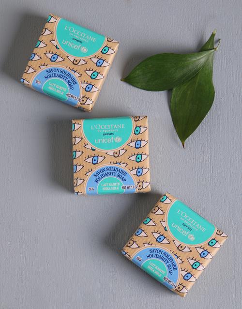 birthday Loccitane UNICEF Shea Milk Trio Soap Set Box