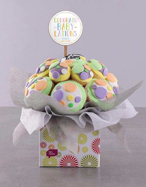 baby Personalised Bundle of Joy Baby Cupcake Bouquet