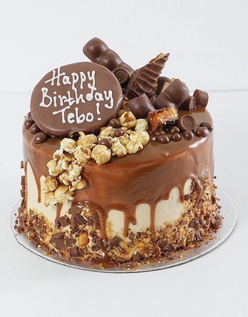 cakes Personalised Chocolate Caramel Pop Drip Cake