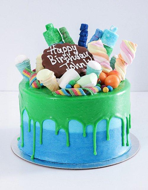 cakes Personalised Blue Magic Drip Cake