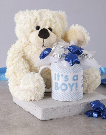 baby Its a Boy White Bear Arrangement