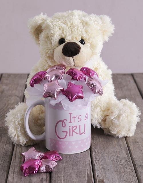 baby Its a Girl White Bear Arrangement