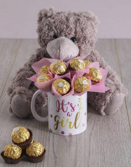 baby Its a Girl Brown Bear Arrangement