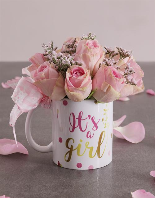 baby Pink Rose Arrangement in a Mug