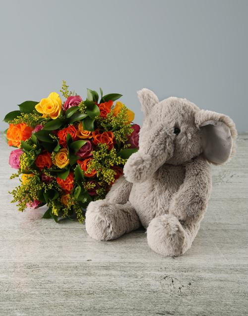 baby Sunset Roses and Elephant Plush Toy