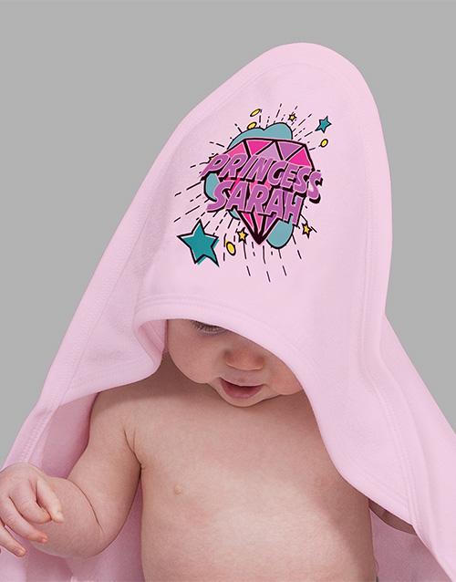 baby Personalised Princess Gem Hooded Towel