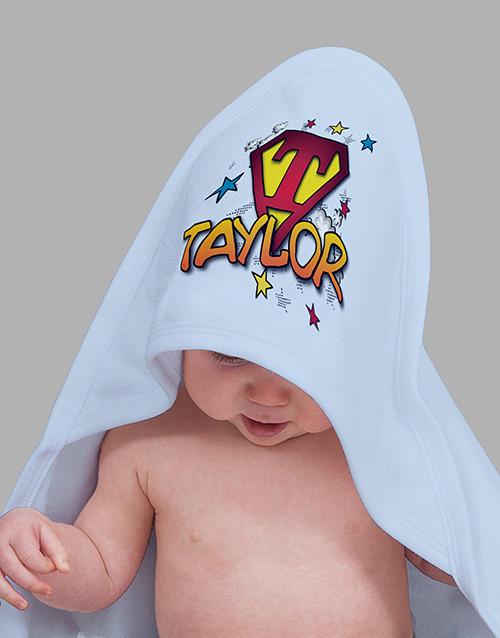 baby Personalised Superhero Hooded Towel