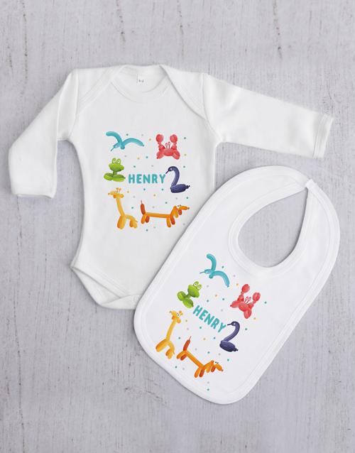 baby Personalised Balloon Animal Baby Gift Set