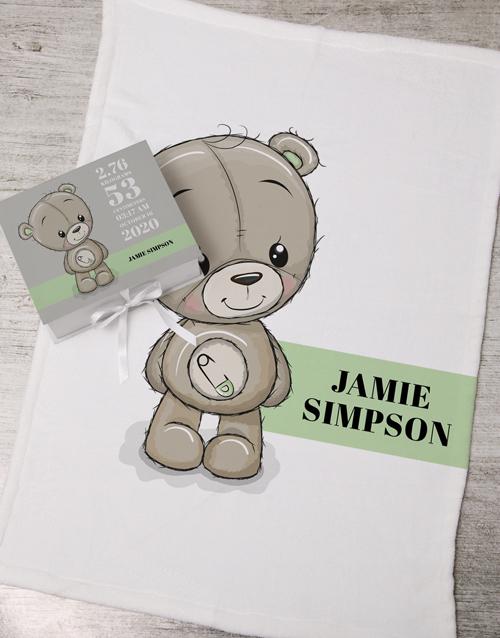 baby Personalised Bear Keepsake Box With Blanket