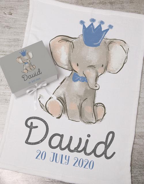 baby Personalised Boy Elephant Box With Blanket