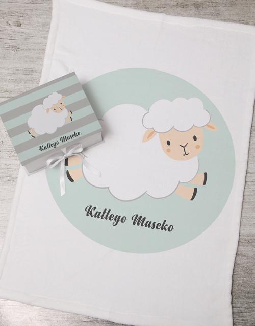 baby Personalised Sheep Keepsake Box With Blanket