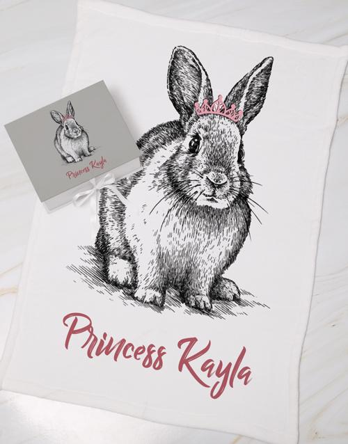 baby Personalised Rabbit Keepsake Box With Blanket
