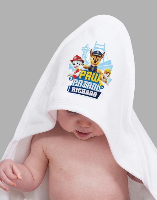 baby Personalised Paw Patrol Hooded Towel