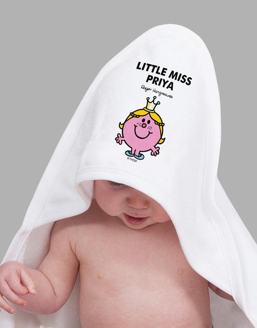 baby Personalised Little Miss Princess Hoodie Towel