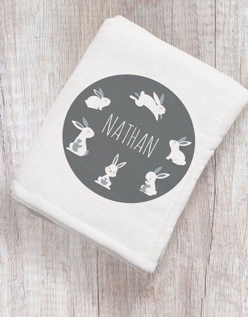 baby Personalised Hoppy Bunny Baby Blanket