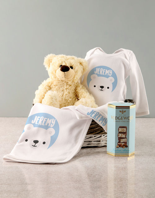 baby Personalised Blue Bear Baby Clothing Gift