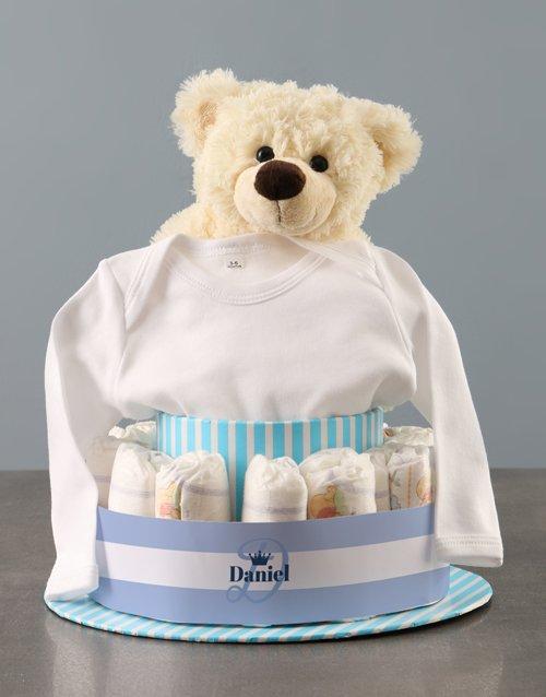 baby Personalised Teddy Bear Boy Banner Nappy Cake