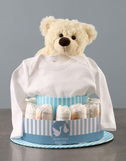 baby Personalised Baby Boy Clothing Nappy Cake