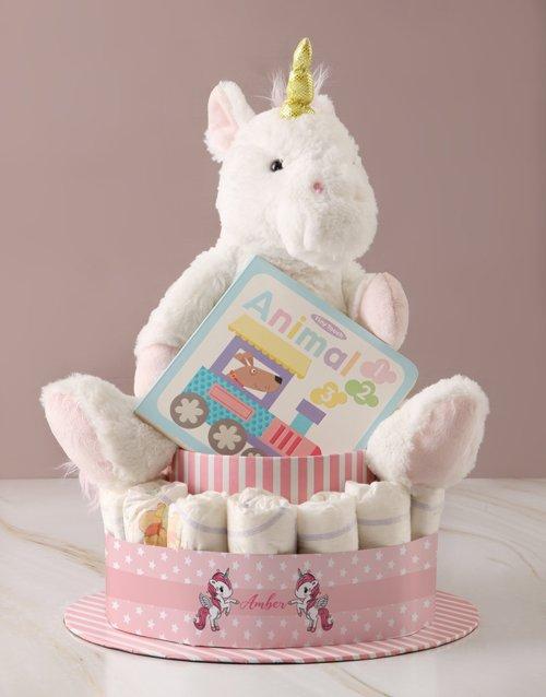 baby Personalised Baby Girl Unicorn Nappy Cake