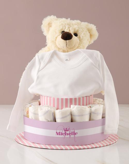 baby Personalised Baby Girl Teddy Bear Nappy Cake