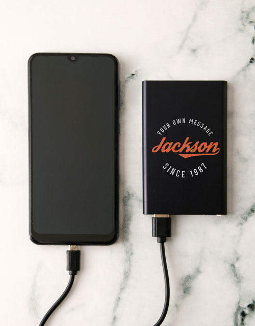 fathers-day Personalised Sporty Black Powerbank