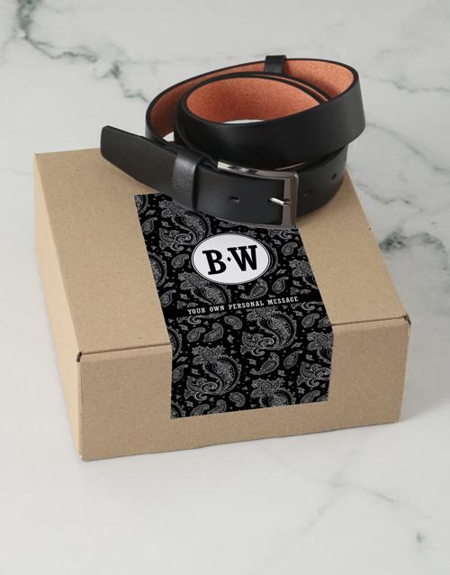 fathers-day Personalised Black Paisley Belt Box