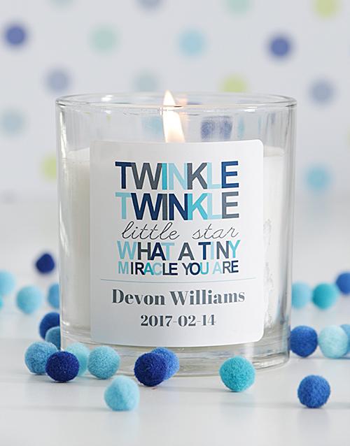 baby Personalised Twinkle Twinkle Baby Boy Candle