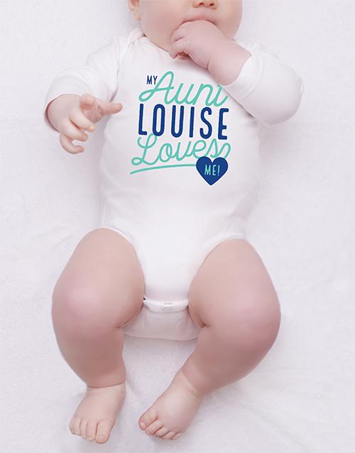 baby Personalised Aunt Loves Me Onesie