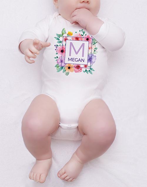 baby Personalised Floral Wreath Onesie