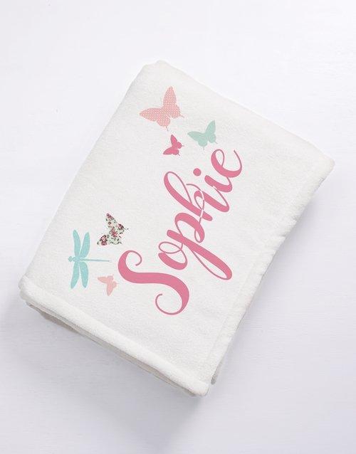 baby Personalised Butterflies Baby Fleece Blanket