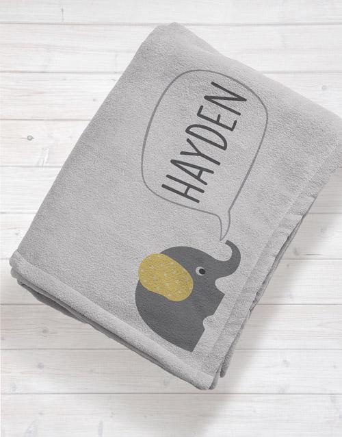 baby Personalised Elephant Baby Fleece Blanket