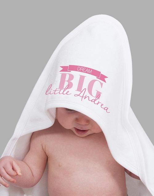 baby Personalised Dream Big Girl Hooded Towel