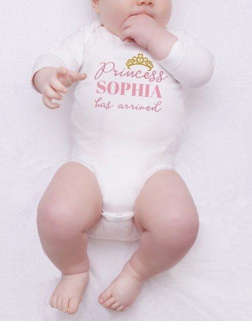 baby Personalised Glitter Princess Onesie