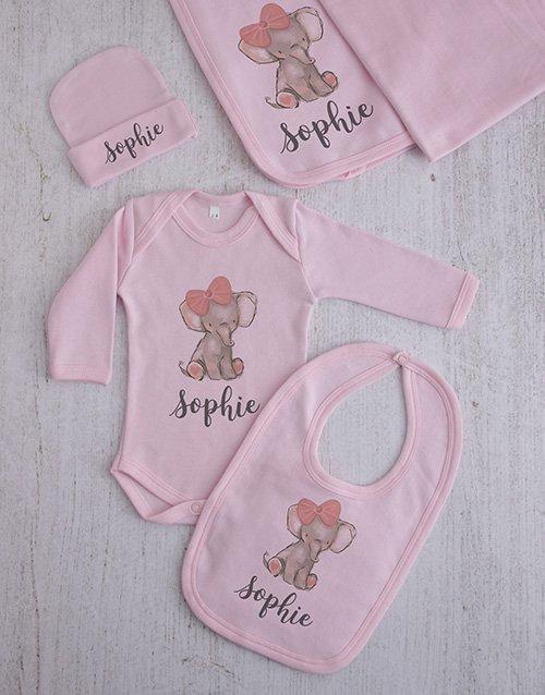 baby Personalised Elephant Girl Clothing Gift Set