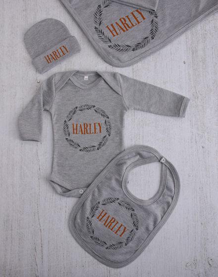 baby Personalised Leaf Wreath Clothing Gift Set