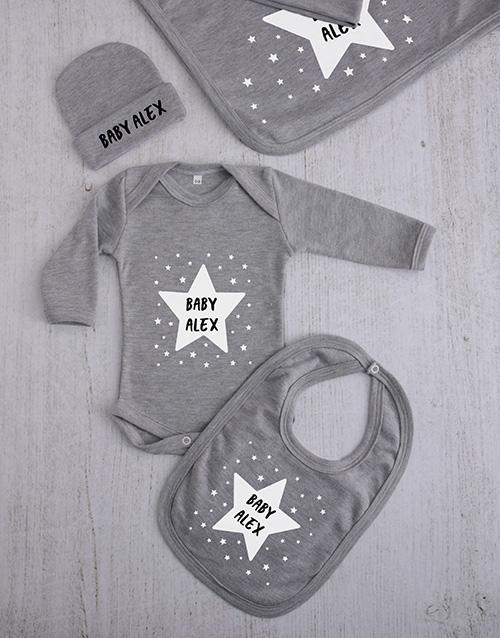 baby Personalised Stars Clothing Gift Set